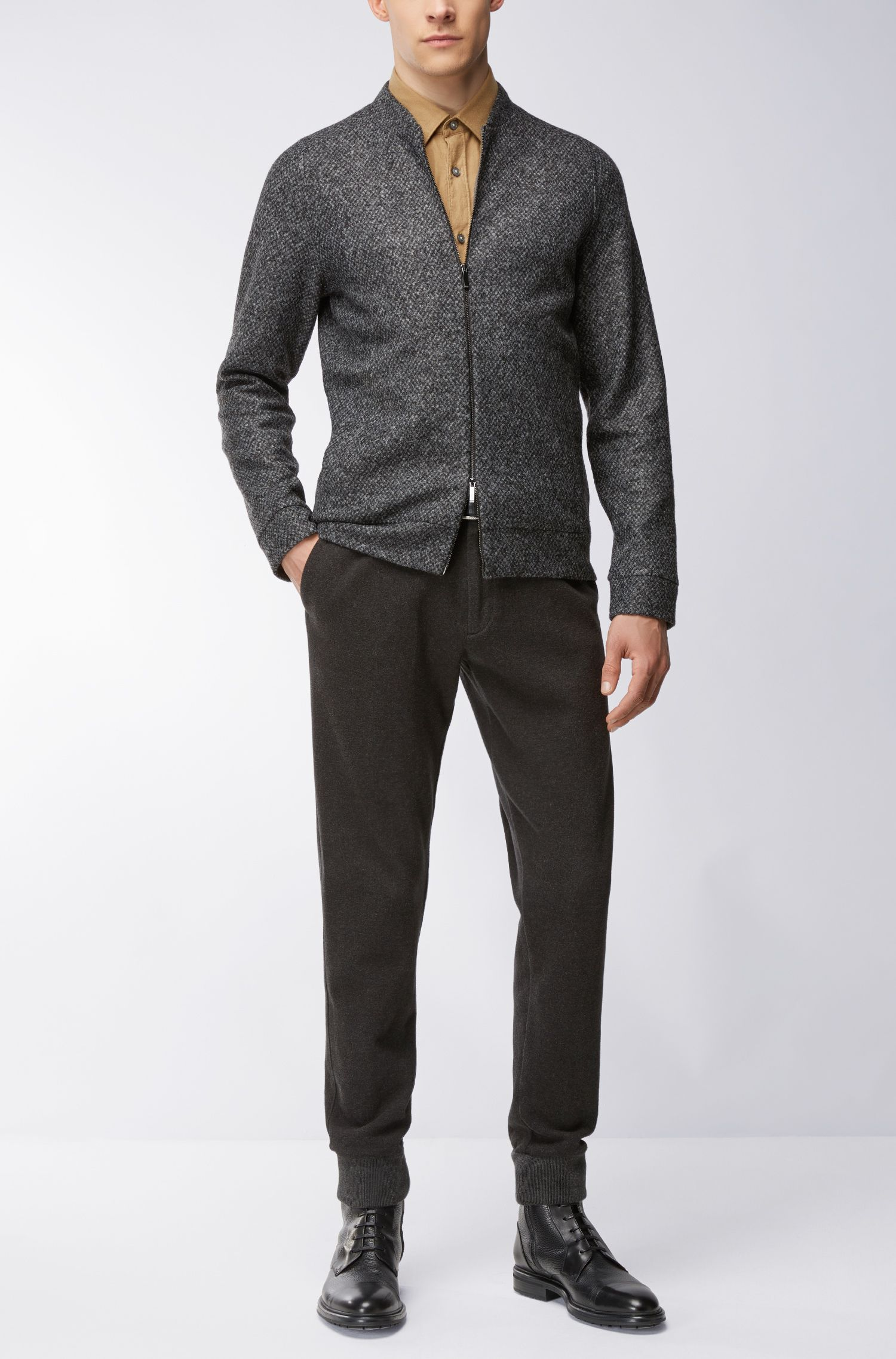 Italian Stretch Sweater Jacket | Salea, Grey