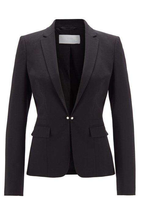 Regular-fit jacket in Italian stretch wool, Black