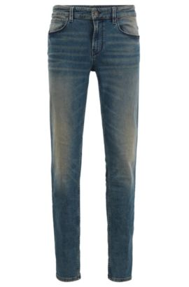 12.5 oz Stretch Cotton Blend Jeans, Slim Fit | Orange 63, Blue
