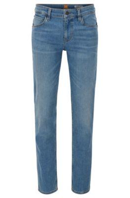 11.25 oz Stretch Cotton Blend Jeans, Slim Fit | Orange 63, Turquoise