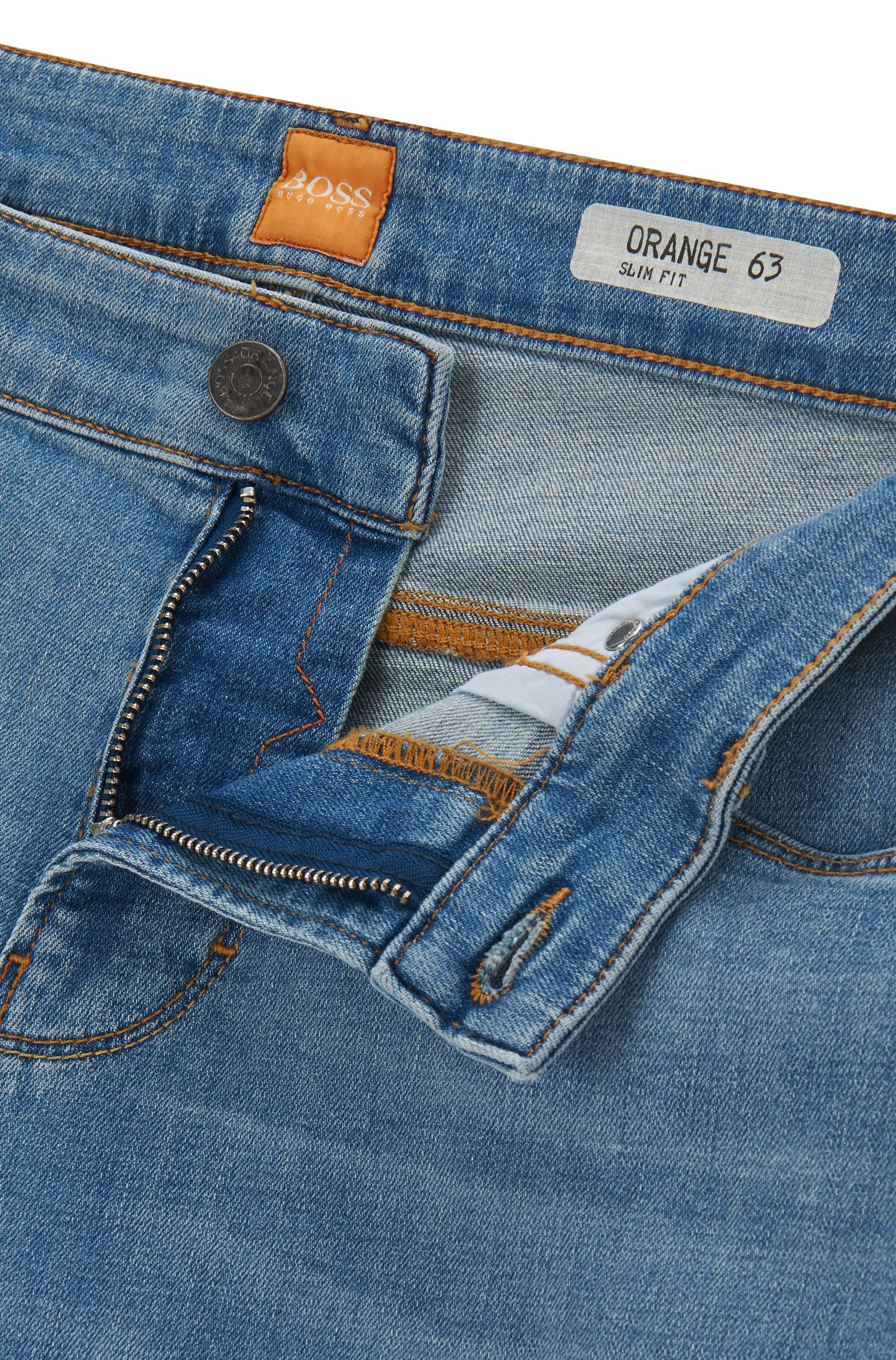 Stretch Cotton Jean, Slim Fit | Orange 63, Turquoise