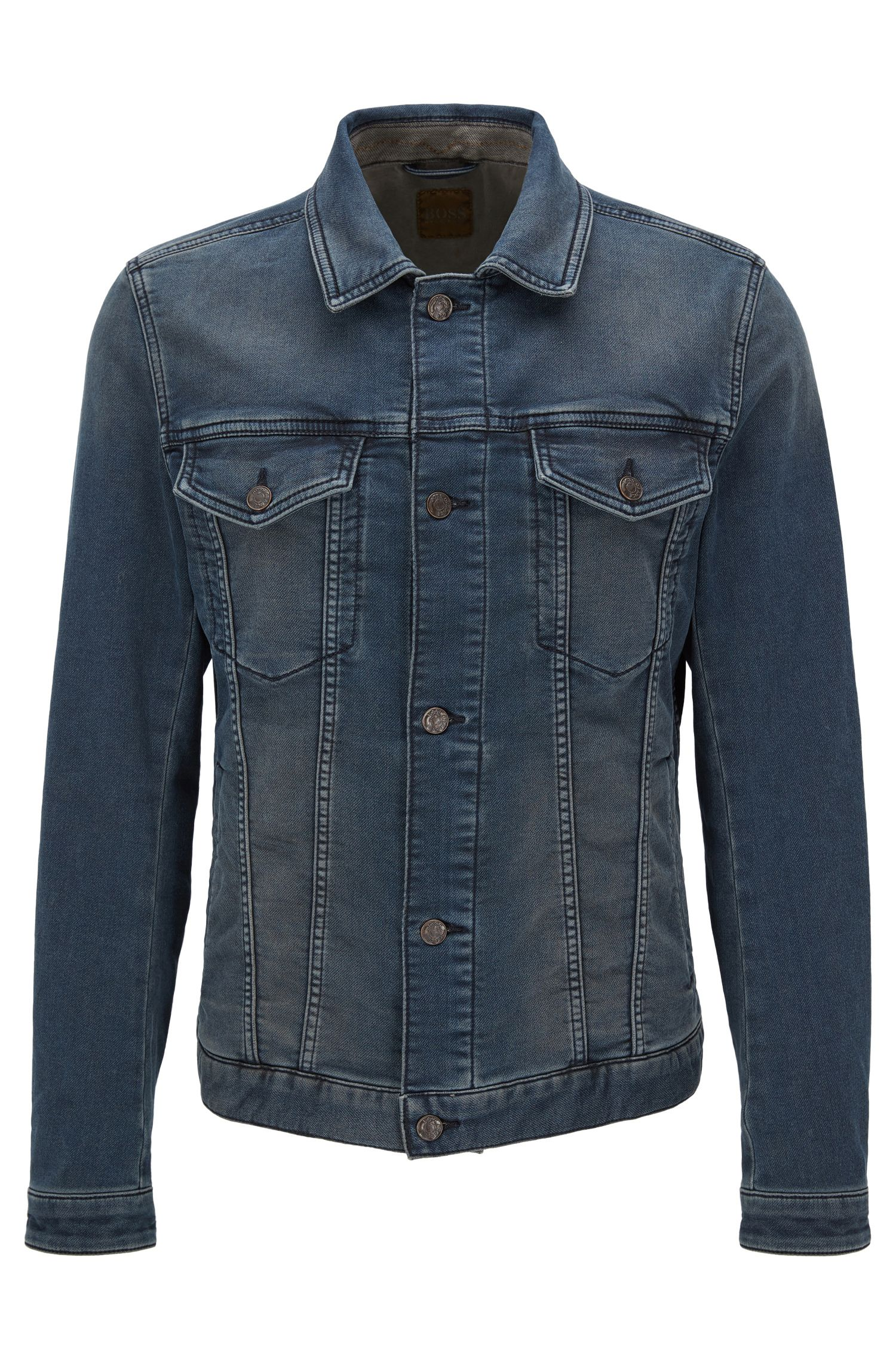 10.5 oz Stretch Cotton Denim Jacket, Slim Fit | Orange Livingston