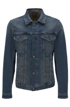 10.5 oz Stretch Cotton Denim Jacket, Slim Fit | Orange Livingston, Dark Blue