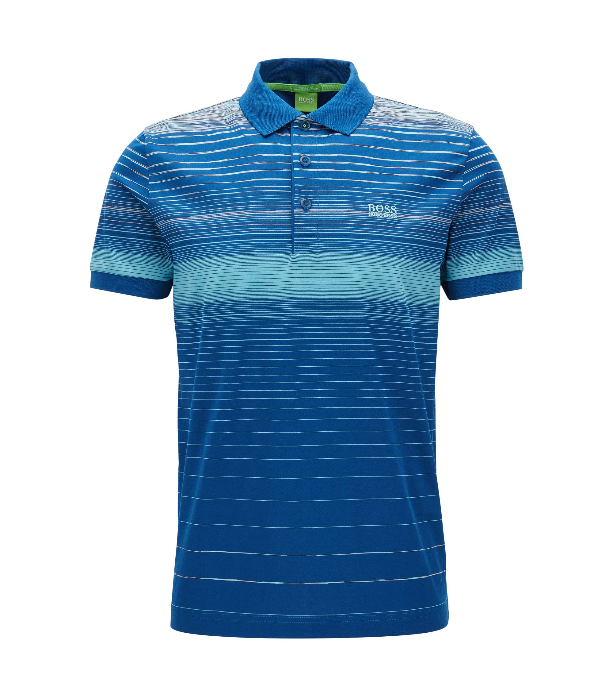 Striped Cotton Polo Shirt, Regular Fit | Paddy, Open Blue