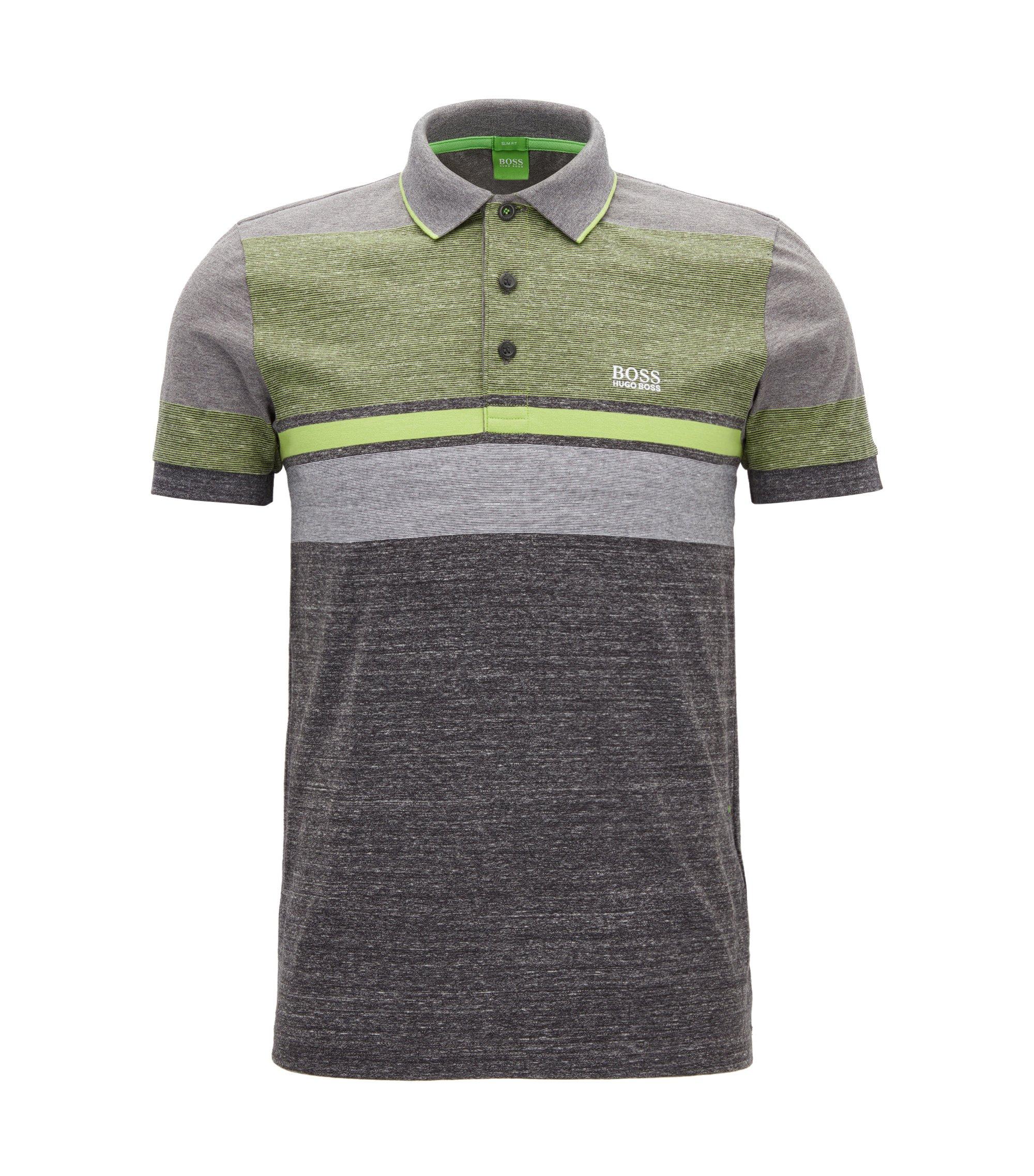 Striped Cotton Polo Shirt, Slim Fit | Paule, Charcoal