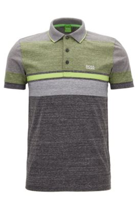 Striped Cotton Polo Shirt, Slim Fit | Paule, Charcoal