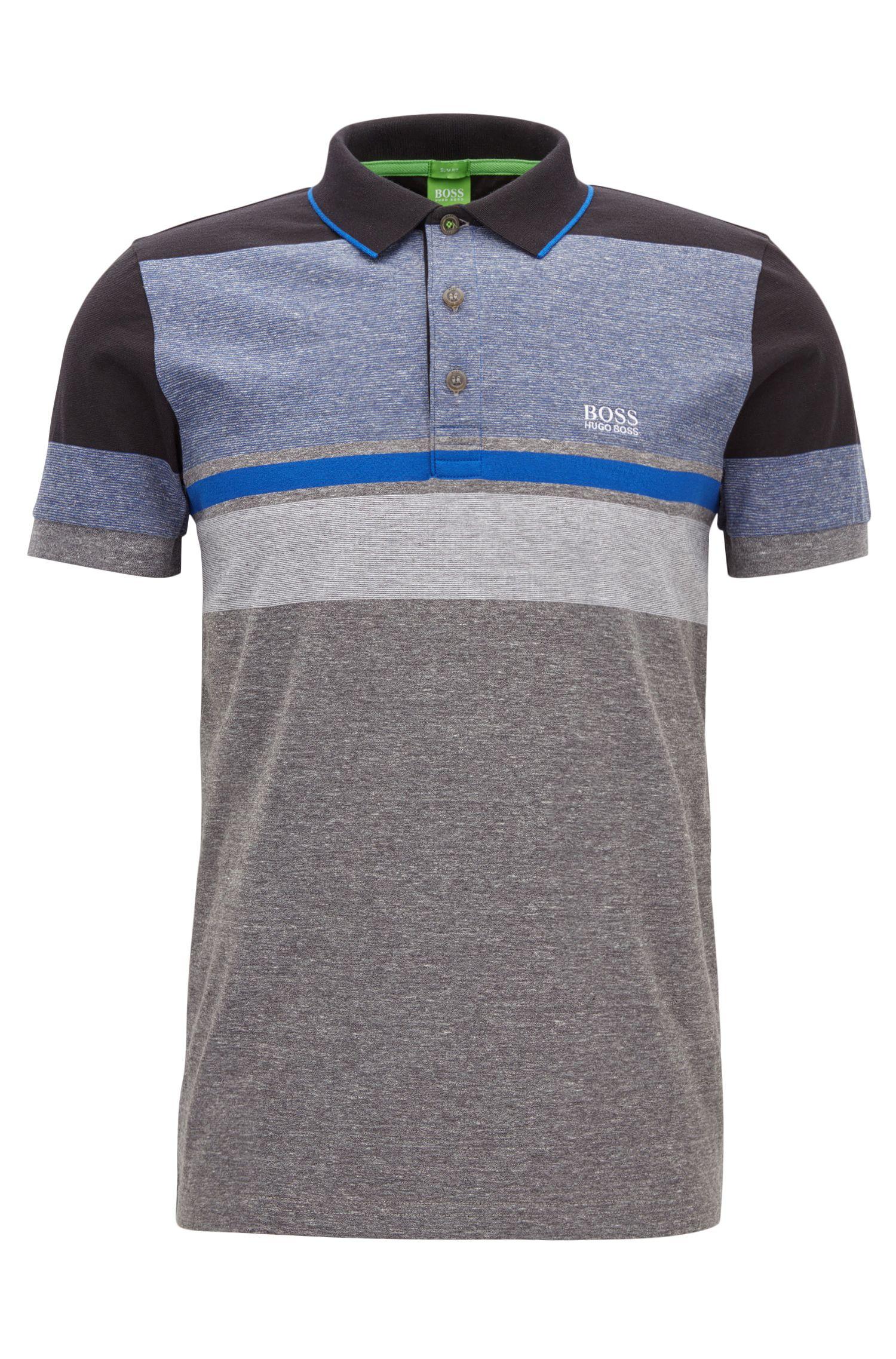 Striped Cotton Polo Shirt, Slim Fit   Paule