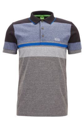 Striped Cotton Polo Shirt, Slim Fit | Paule, Grey