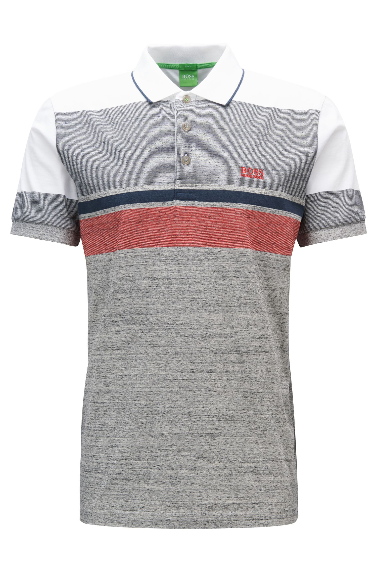 Striped Cotton Polo Shirt, Slim Fit | Paule