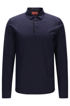 Cotton Long Sleeve Polo Shirt, Slim Fit | Demons, Dark Blue