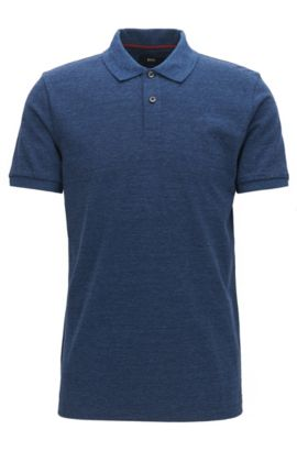Heathered Cotton Polo Shirt, Slim Fit | Phillipson, Open Blue