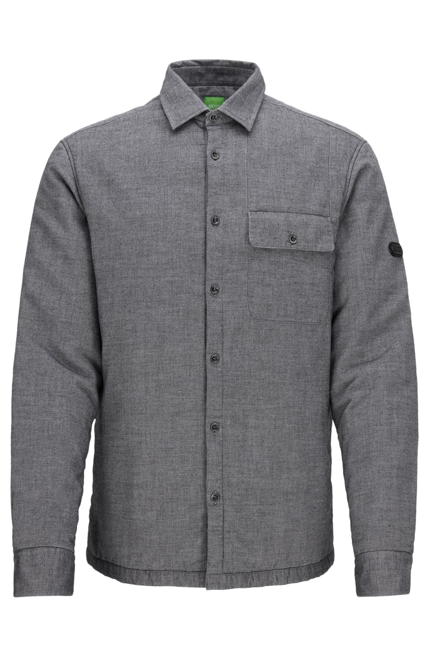 'Baisy' | Relaxed Fit, Garment-Washed Cotton Button Down Shirt, Black