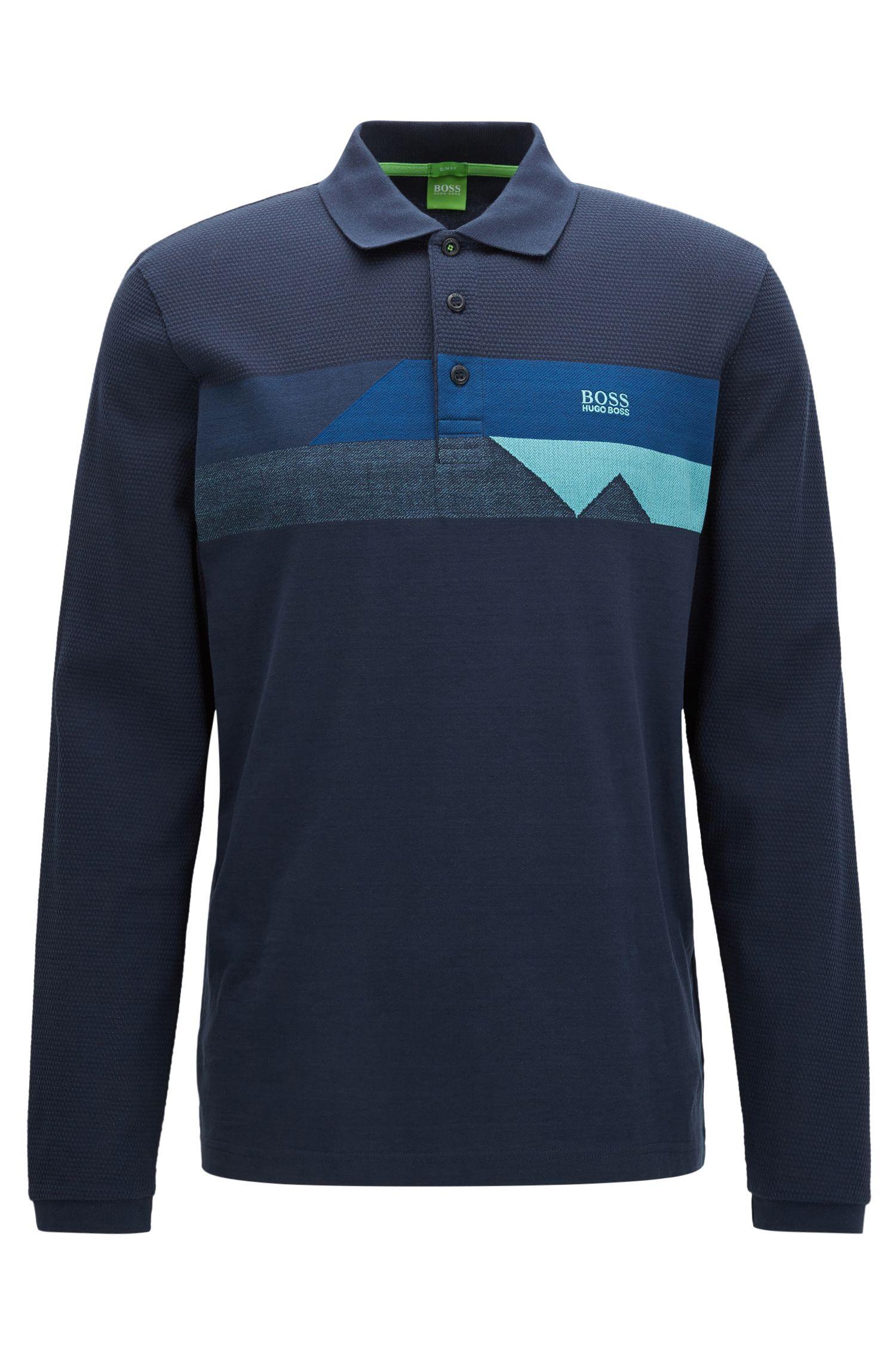 Coloblocked Cotton Polo Shirt, Slim Fit | Pleesy