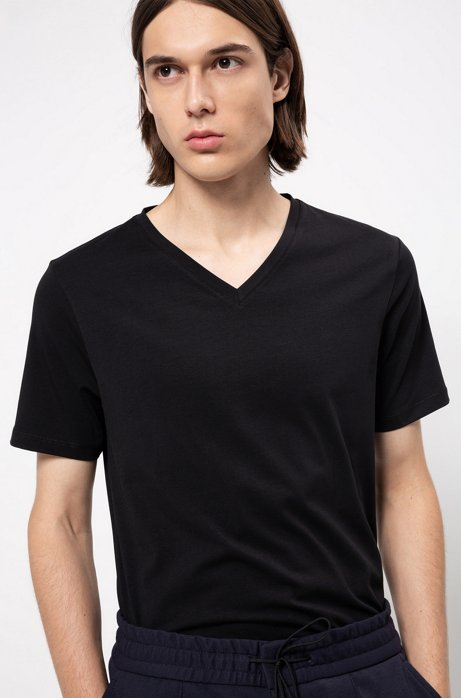 V-neck T-shirt in stretch cotton jersey, Black