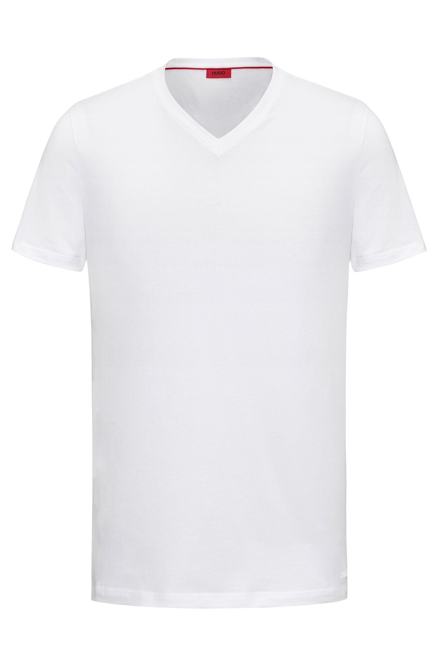 V-neck T-shirt in stretch cotton jersey, White