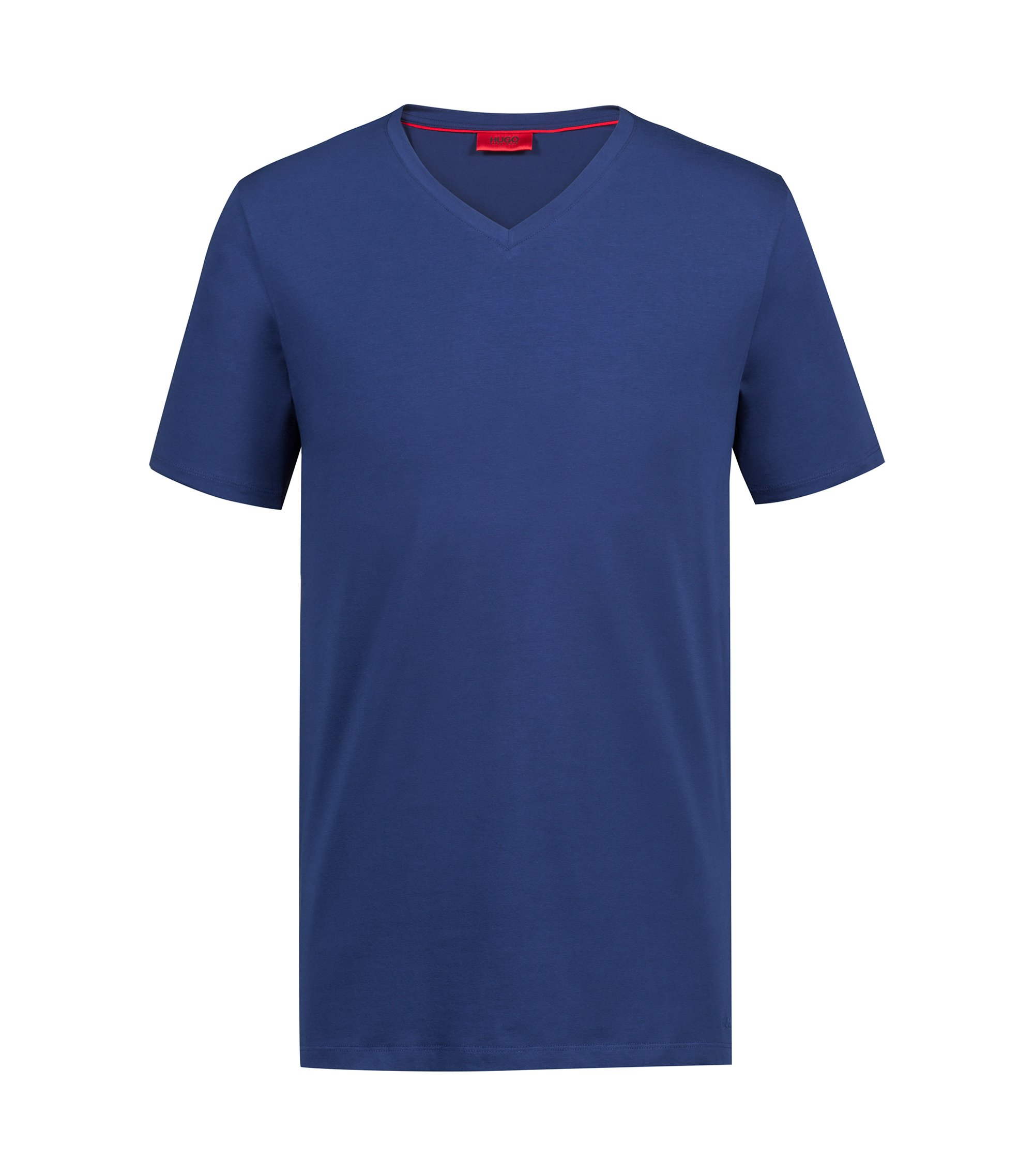 V-neck T-shirt in stretch cotton jersey, Dark Blue