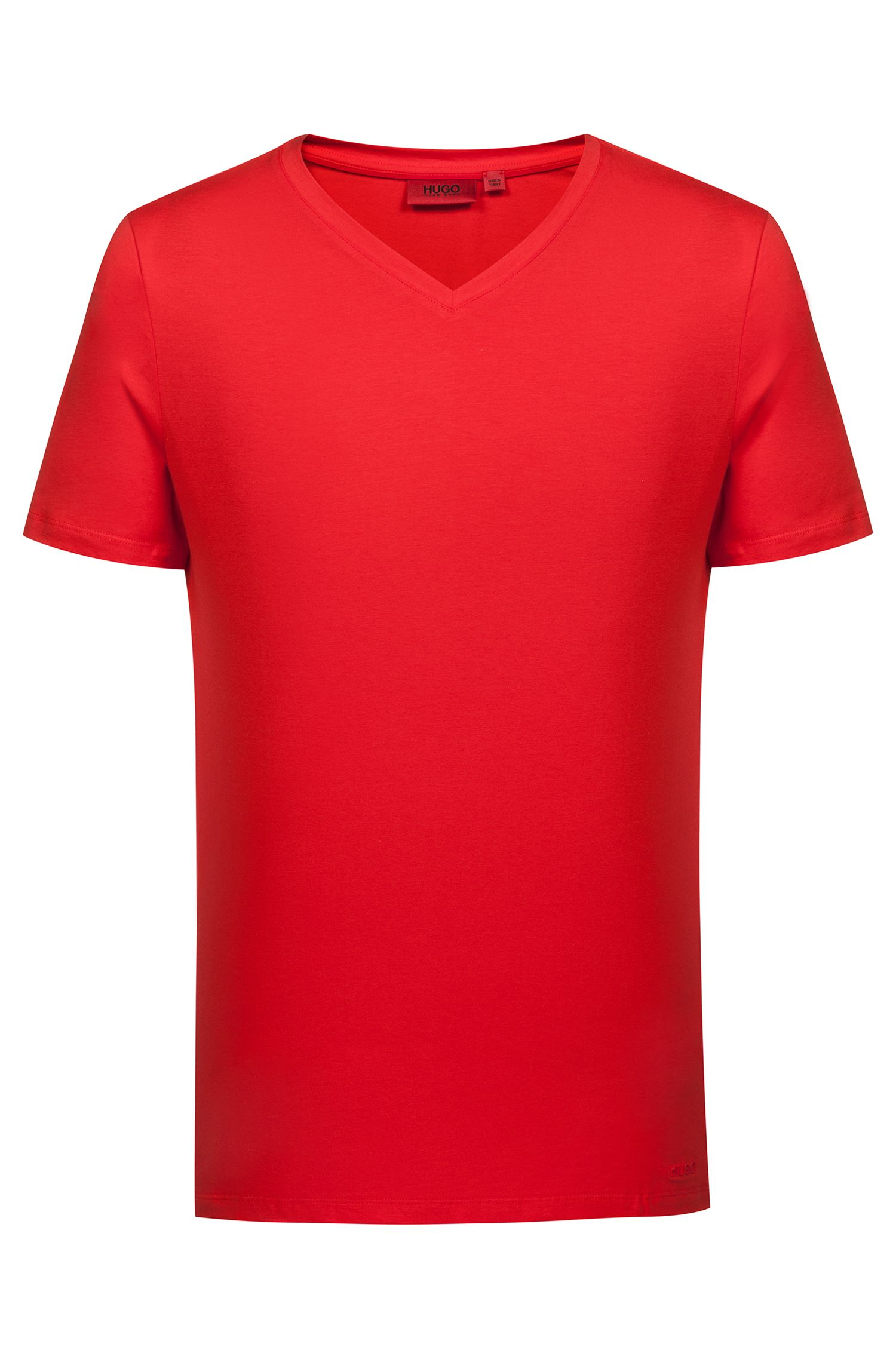 V-neck T-shirt in stretch cotton jersey, Red