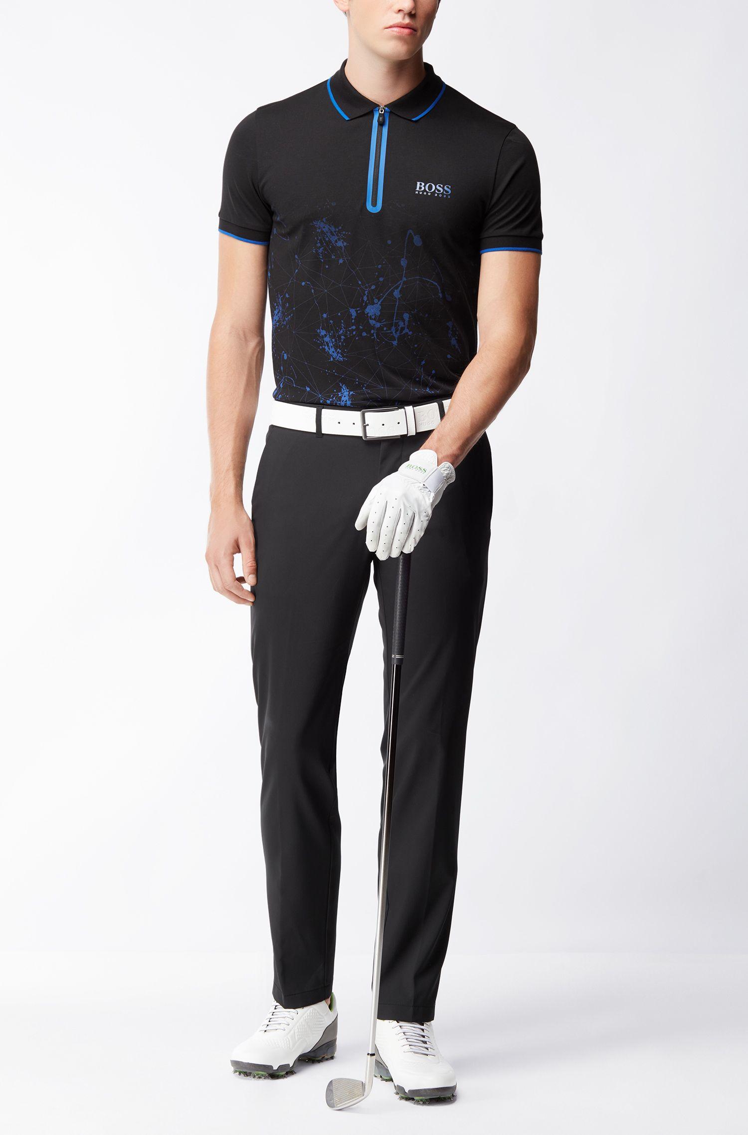 Stretch Cotton Printed Polo, Slim Fit | Prek Pro
