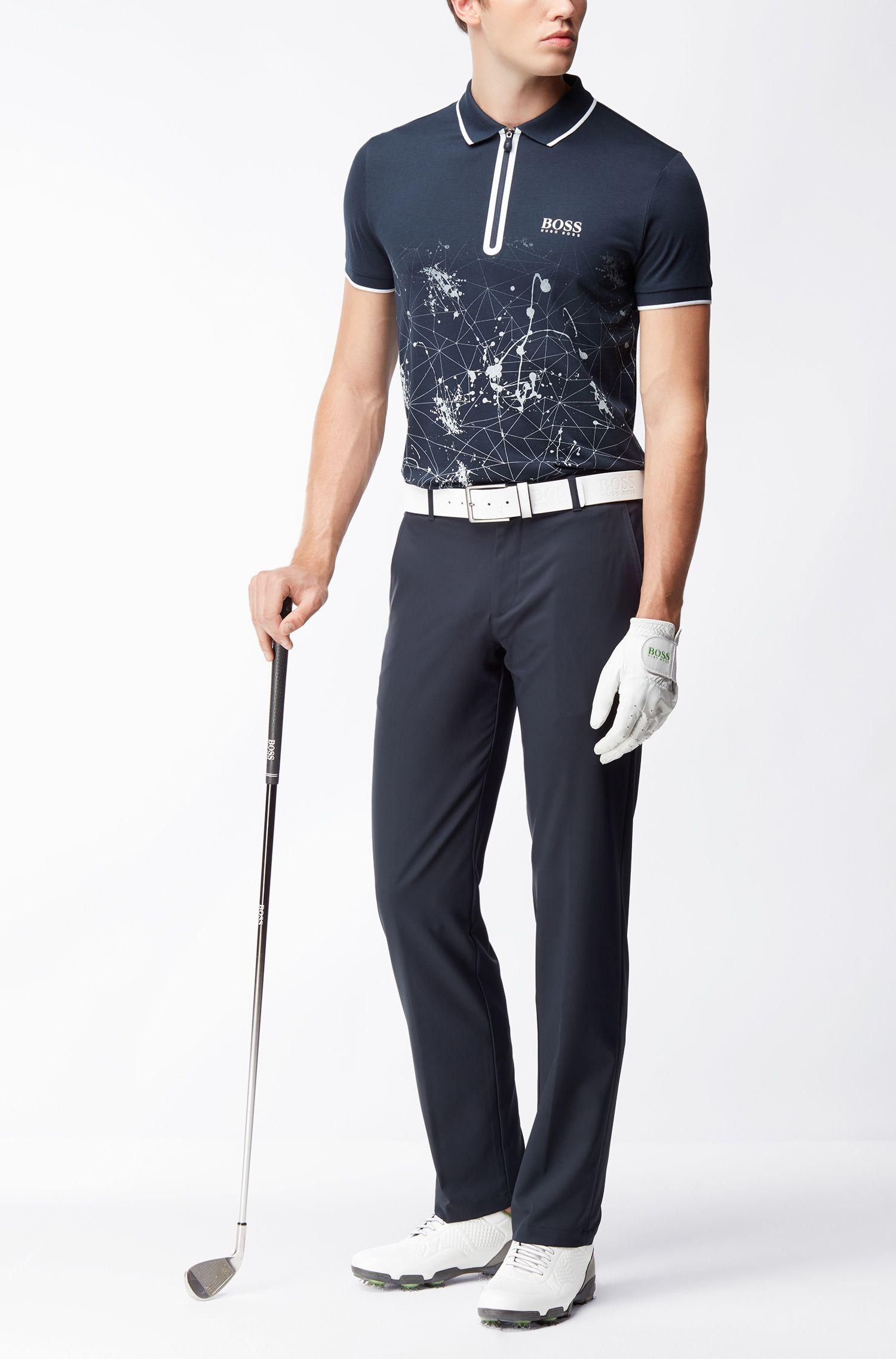 Stretch Cotton Printed Polo, Slim Fit | Prek Pro, Dark Blue