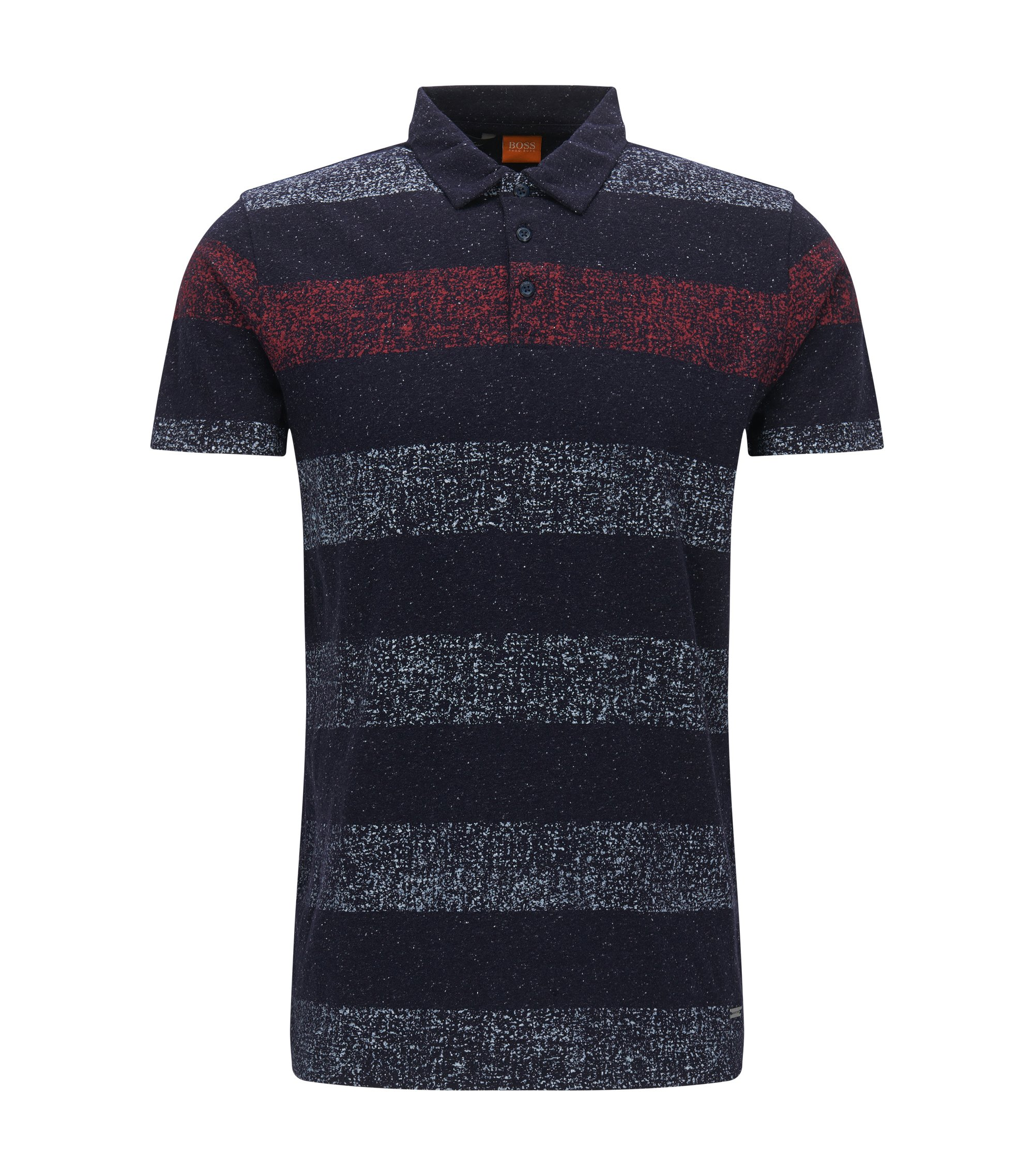 Striped Stretch Cotton Polo Shirt, Regular Fit | Pokkemon, Dark Blue
