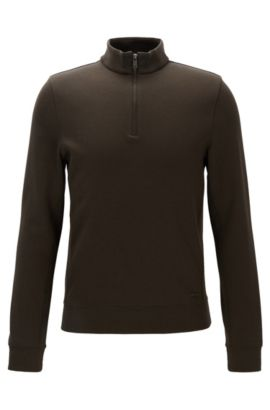 Stretch Cotton Half-Zip Sweater | Siegal, Open Green