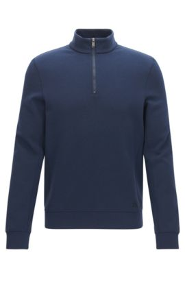 'Siegal' | Stretch Cotton Half-Zip Sweater, Dark Blue