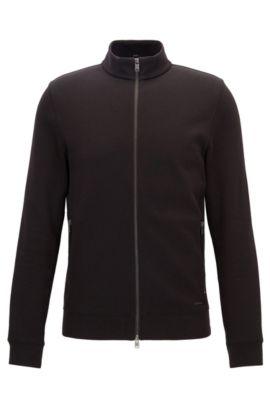 'Soule' | Stretch Cotton Nylon Zip Sweat Jacket, Black