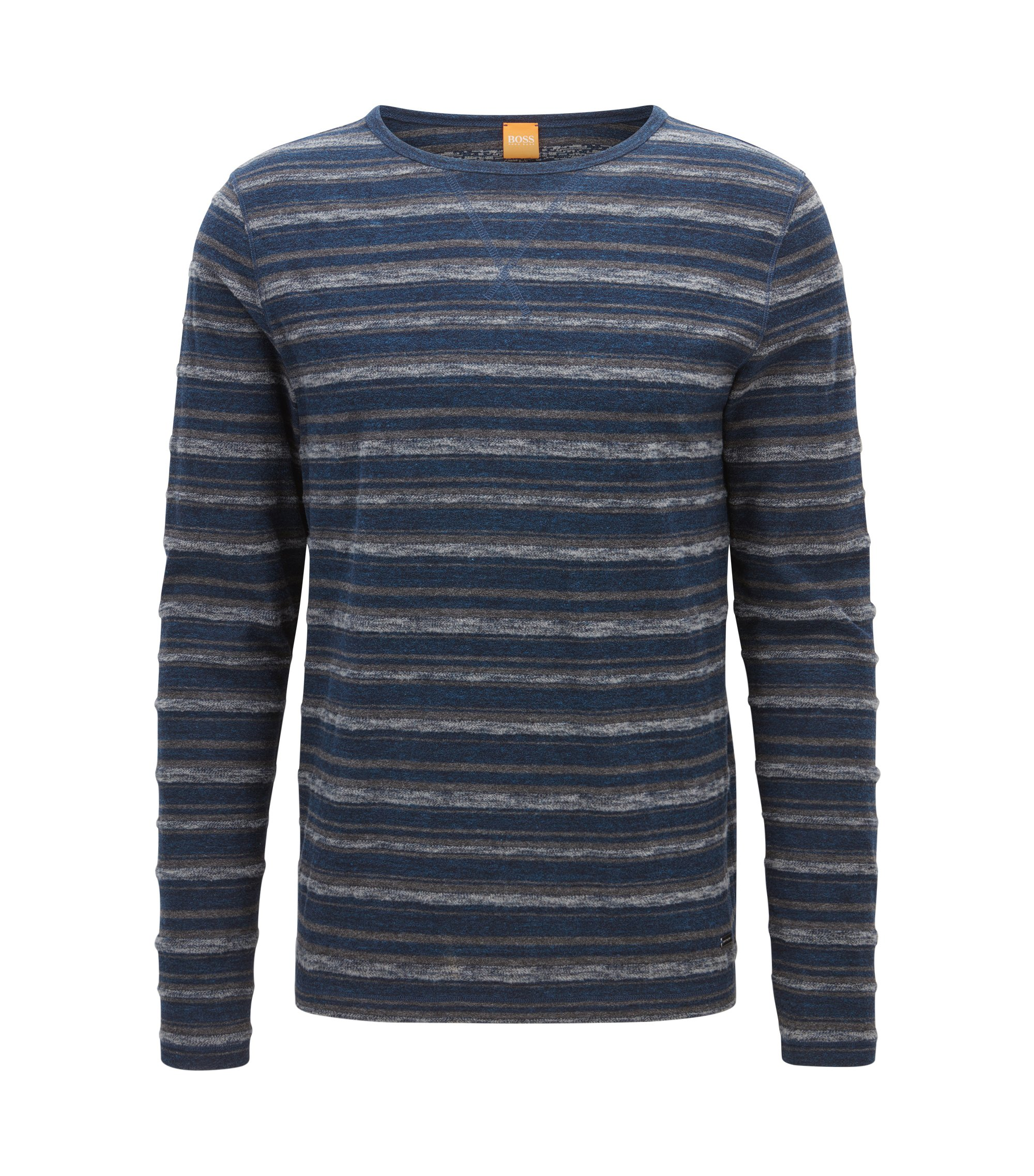 Striped Stretch Cotton T-Shirt | Twinkle, Dark Blue