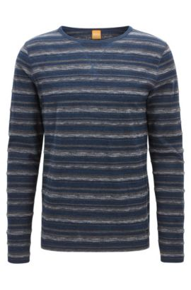 'Twinkle' | Striped Stretch Cotton T-Shirt, Dark Blue