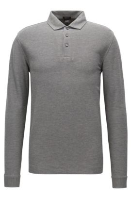 'Pickell' | Regular Fit, Piqué Cotton Polo Shirt, Grey