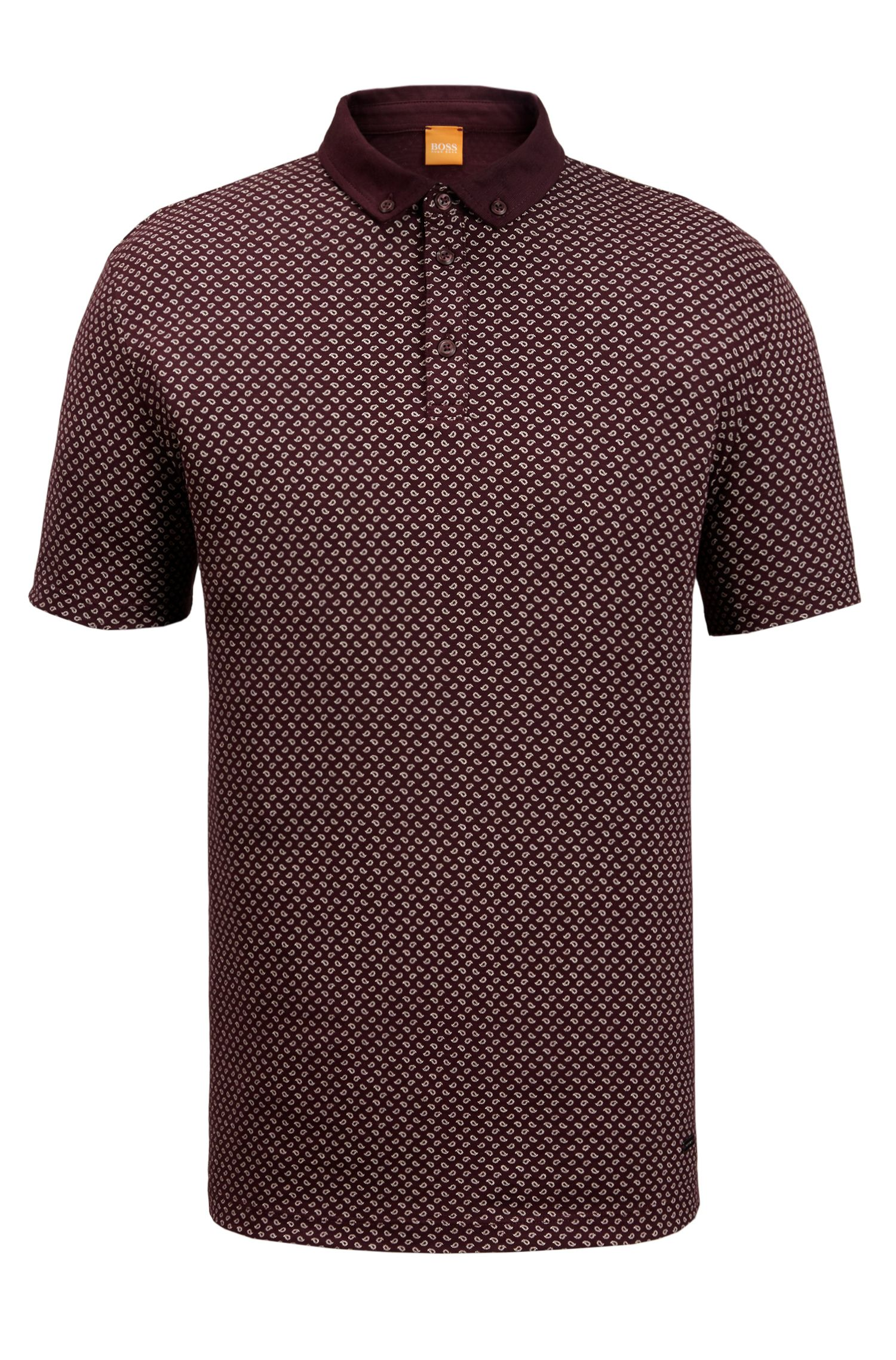 Paisley Cotton Polo Shirt, Regular Fit | Perhaps, Open Red