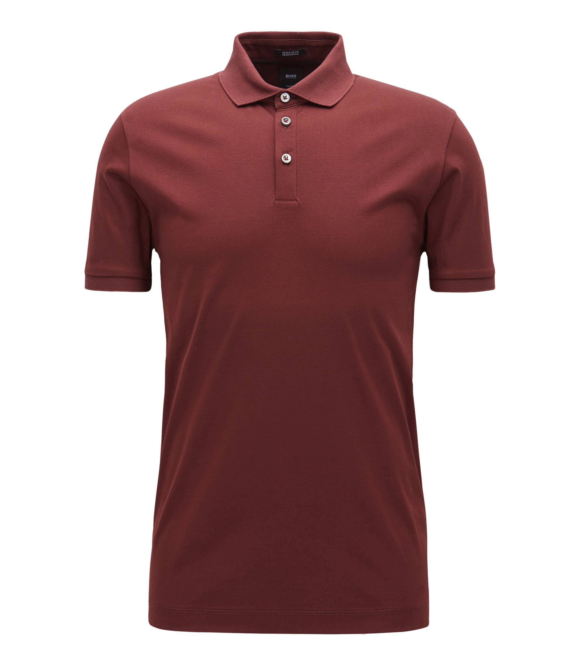 Mercerized Cotton Polo Shirt, Regular Fit   T-Perry, Dark Red