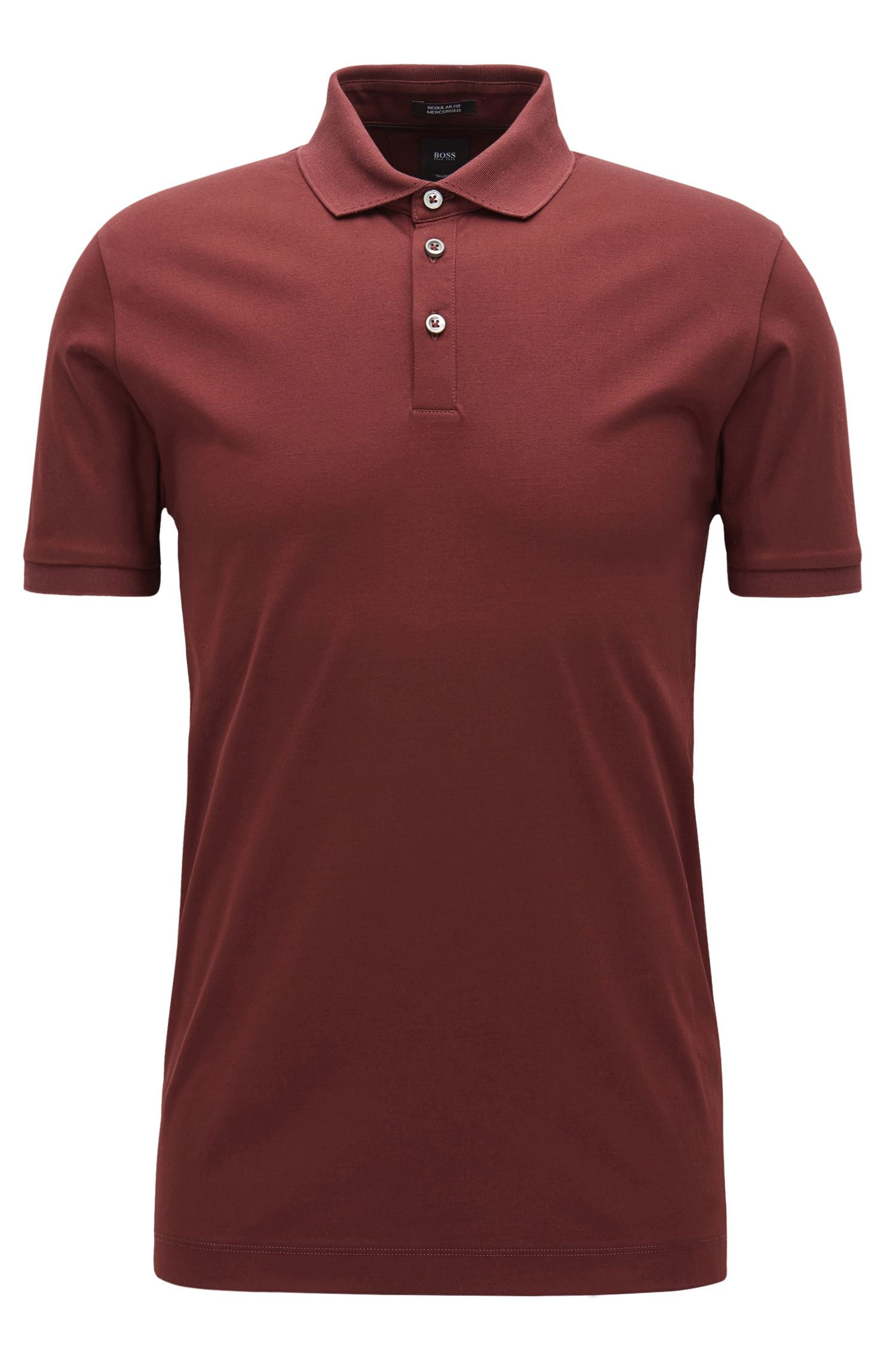 Mercerized Cotton Polo Shirt, Regular Fit | T-Perry, Dark Red