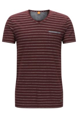 'Tramway' | Striped Cotton Jersey T-Shirt, Open Red