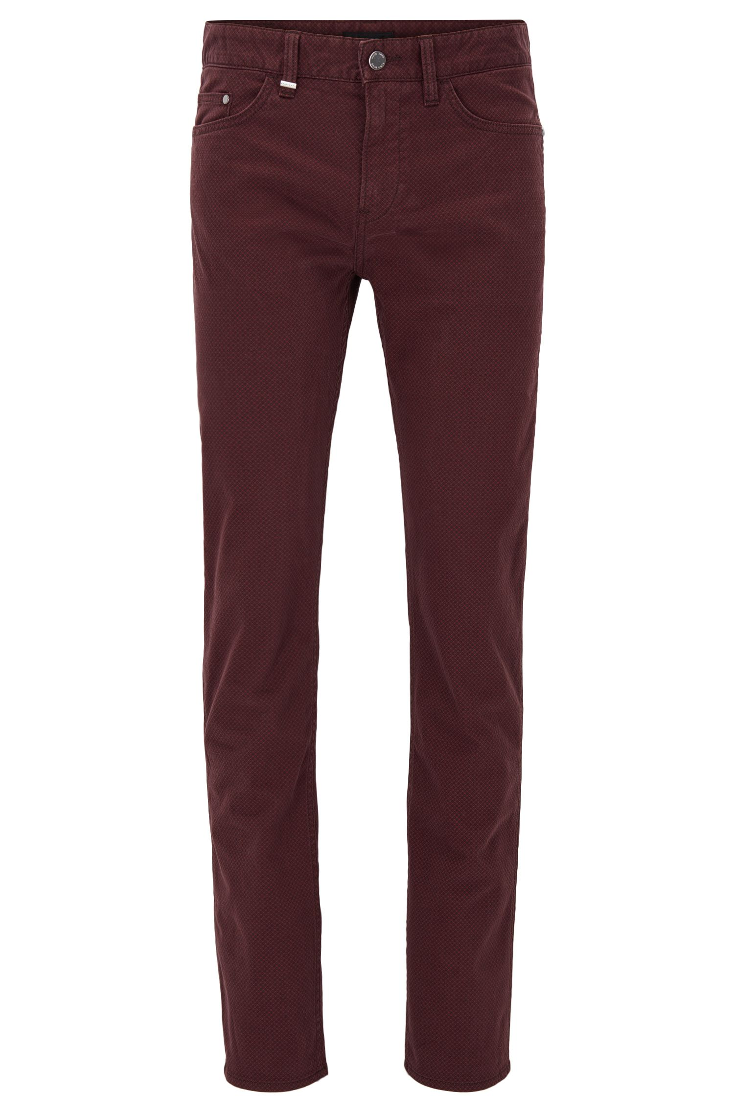 Micro-Print Stretch Cotton Jeans, Slim Fit | Delaware, Red