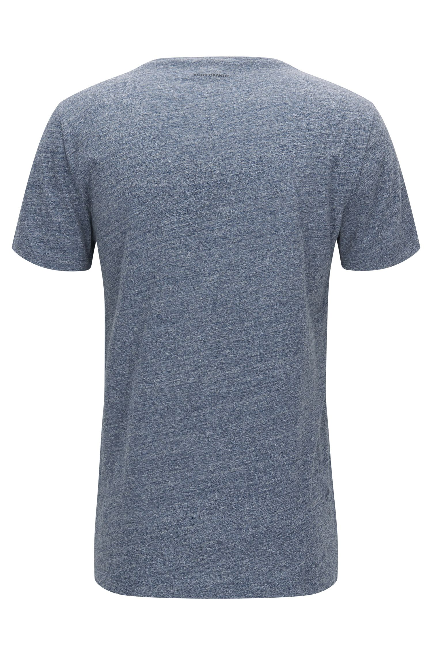 Heathered Cotton Jersey Graphic T-Shirt | Touching, Dark Blue