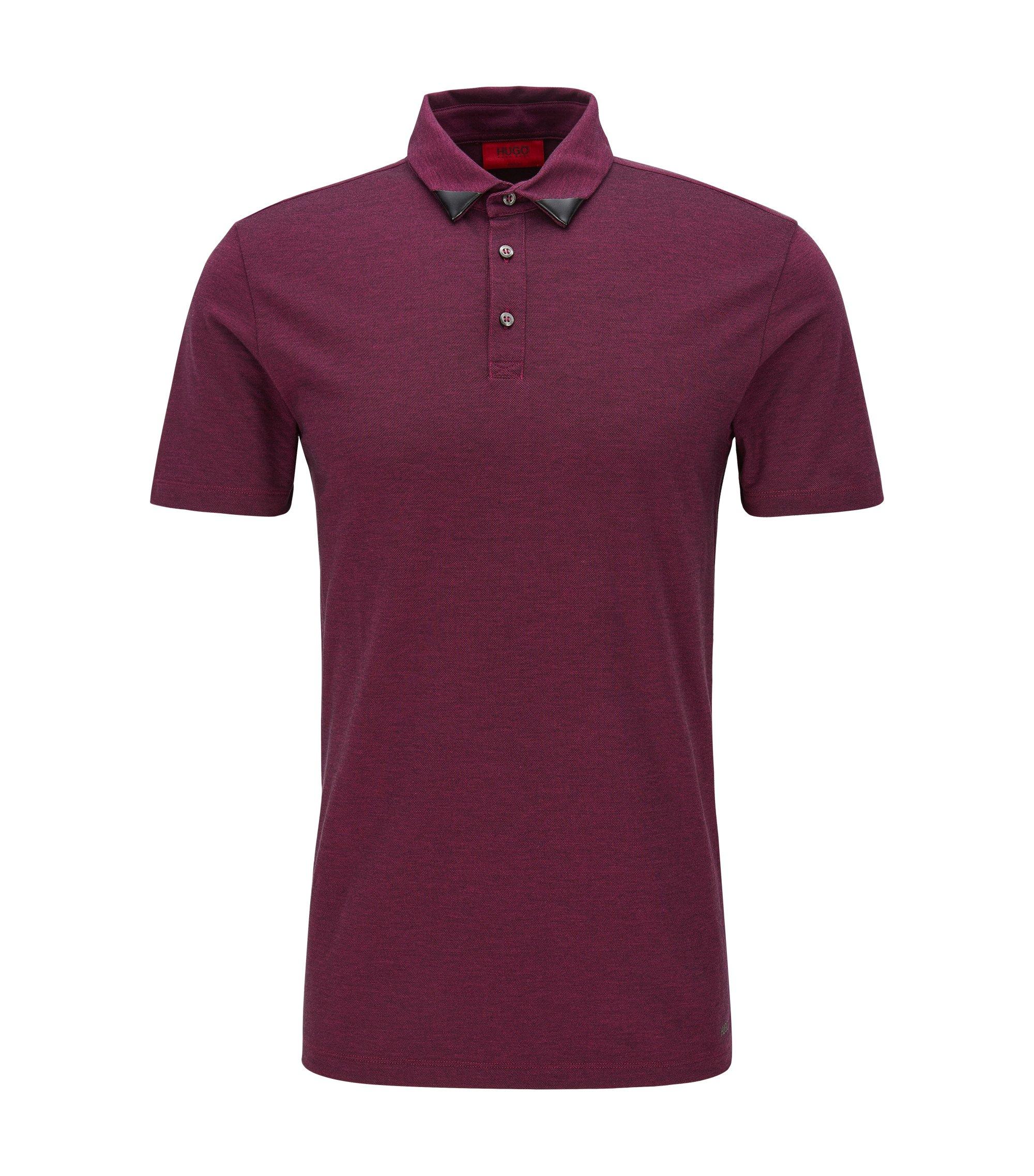 Piqué Cotton Polo Shirt, Slim Fit | Deffries, Dark pink