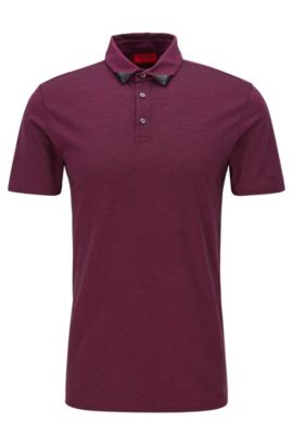 'Deffries' | Slim Fit, Piqué Cotton Polo Shirt, Dark pink