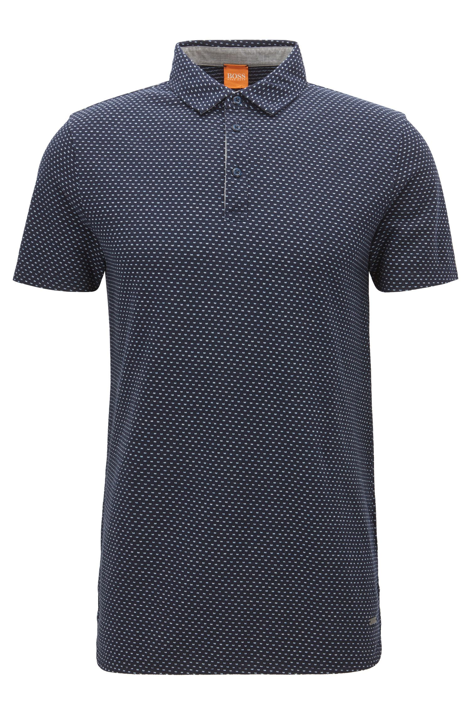 'Perfect' | Regular Fit, Polka Dot Piqué Cotton Polo Shirt