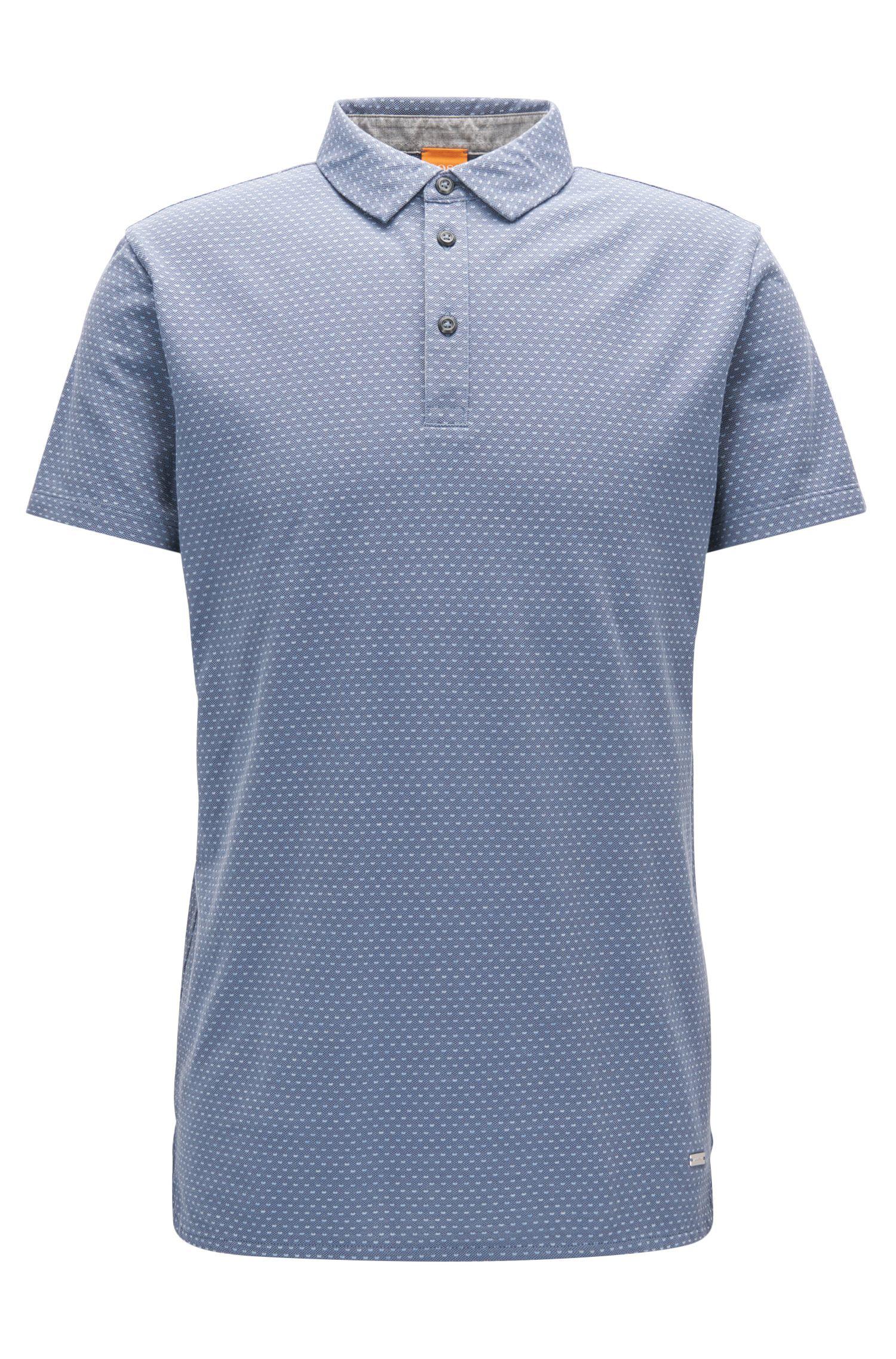 Polka Dot Piqué Cotton Polo Shirt, Regular Fit | Perfect, Dark Blue