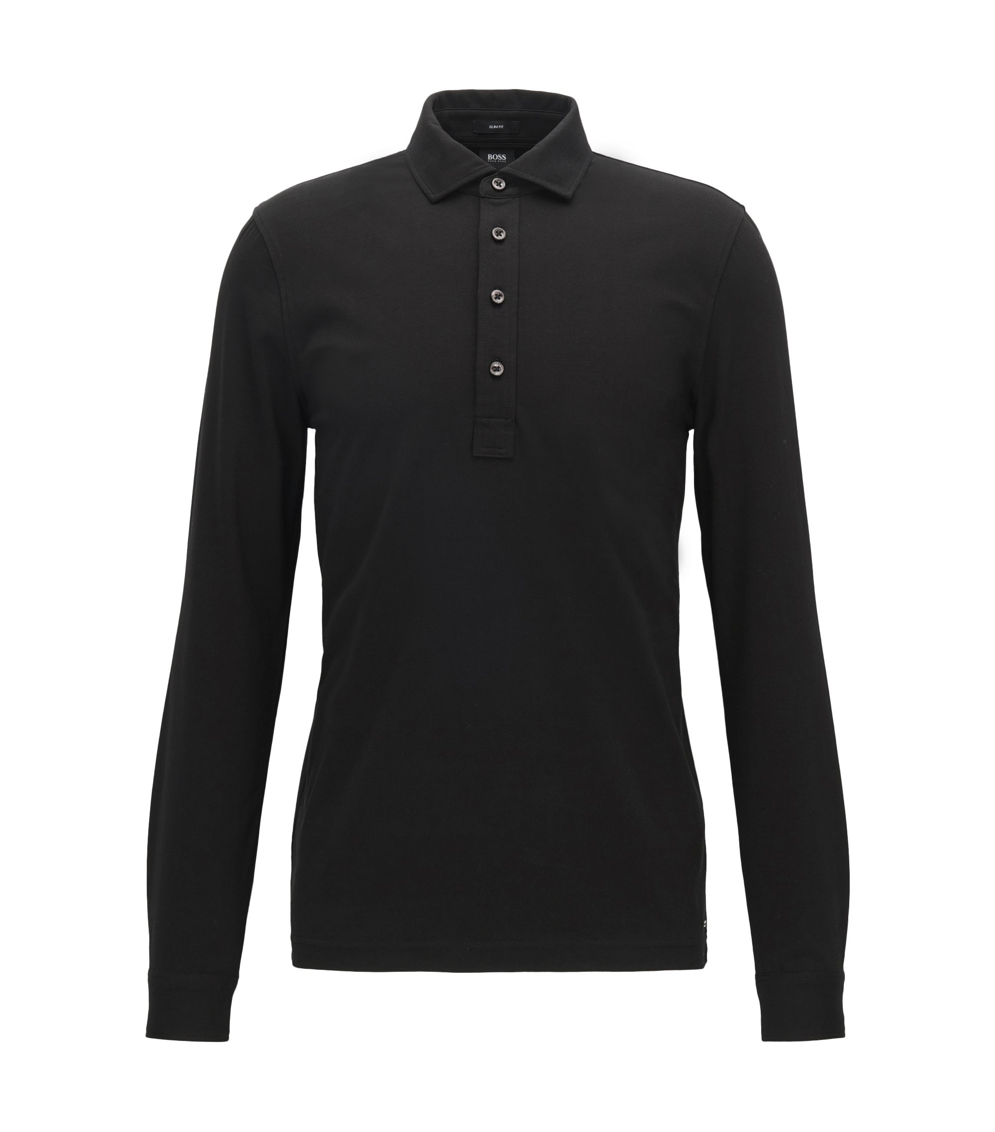 Stretch Cotton Polo Shirt, Slim Fit | Paver, Black