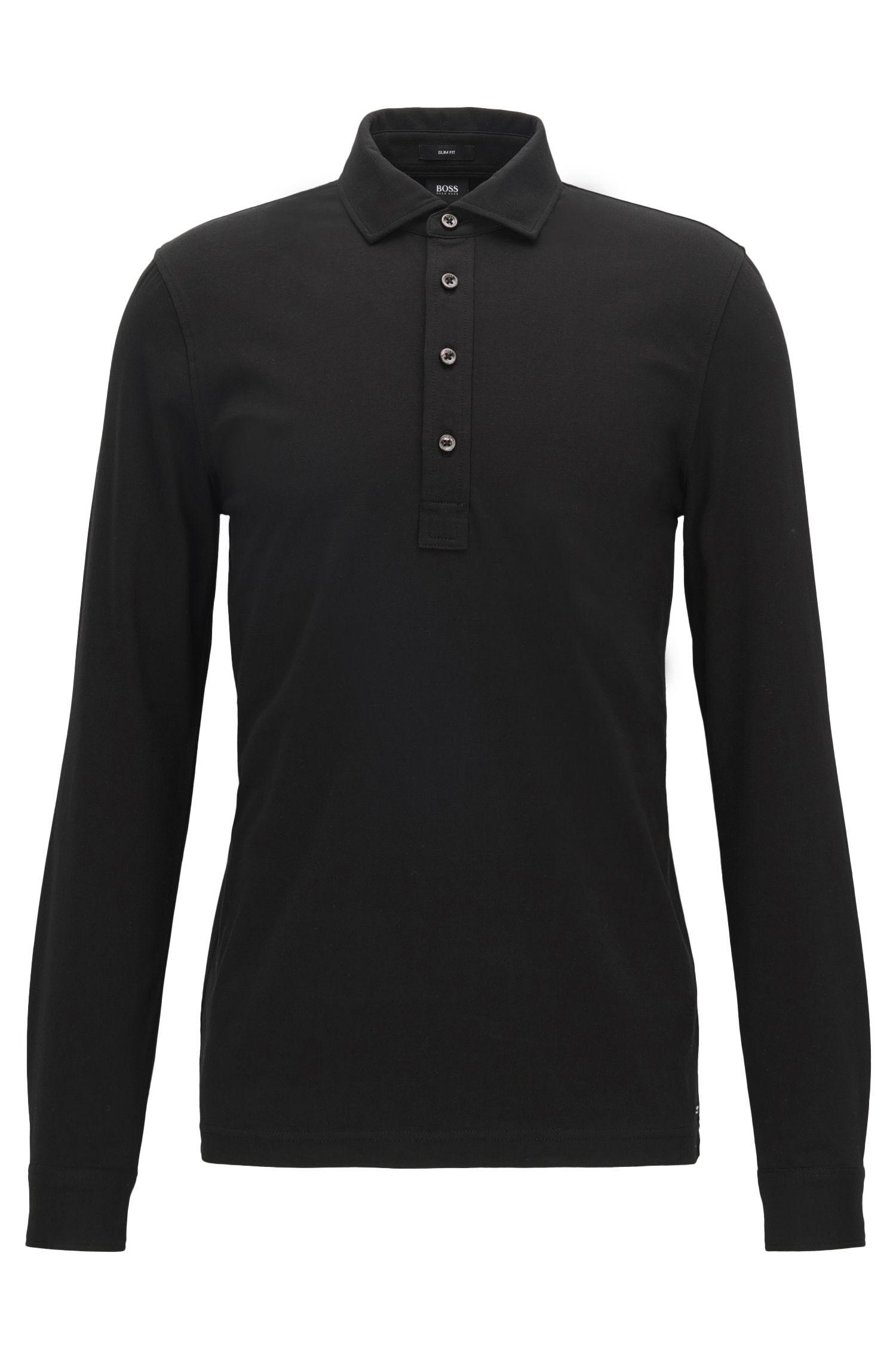 Stretch Cotton Polo Shirt, Slim Fit | Paver