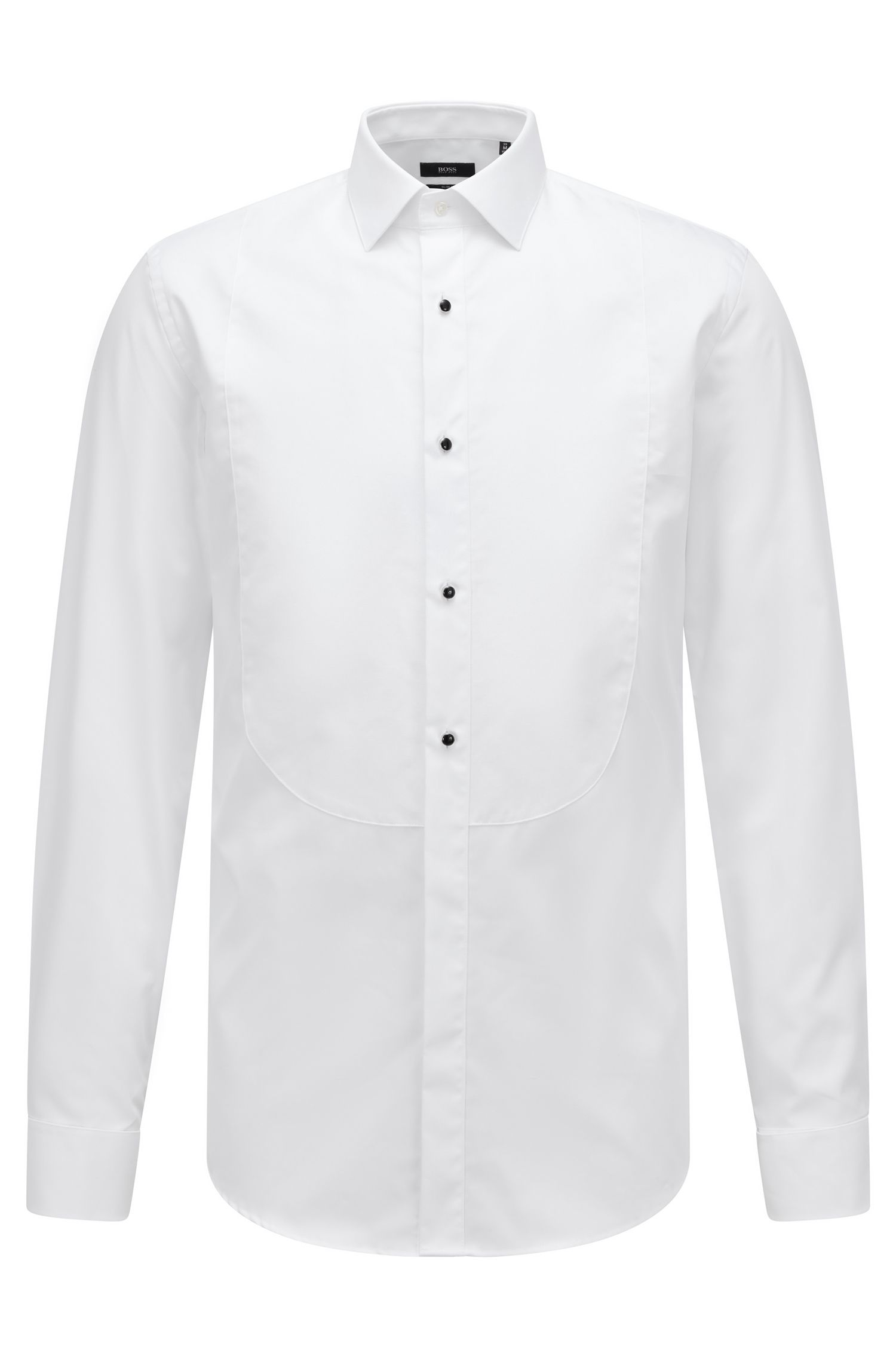 Formal slim-fit shirt in pure cotton , White