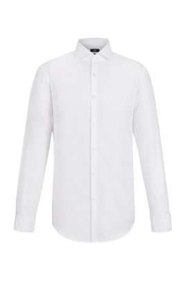 Slim-fit checked shirt in cotton with double cuffs, White