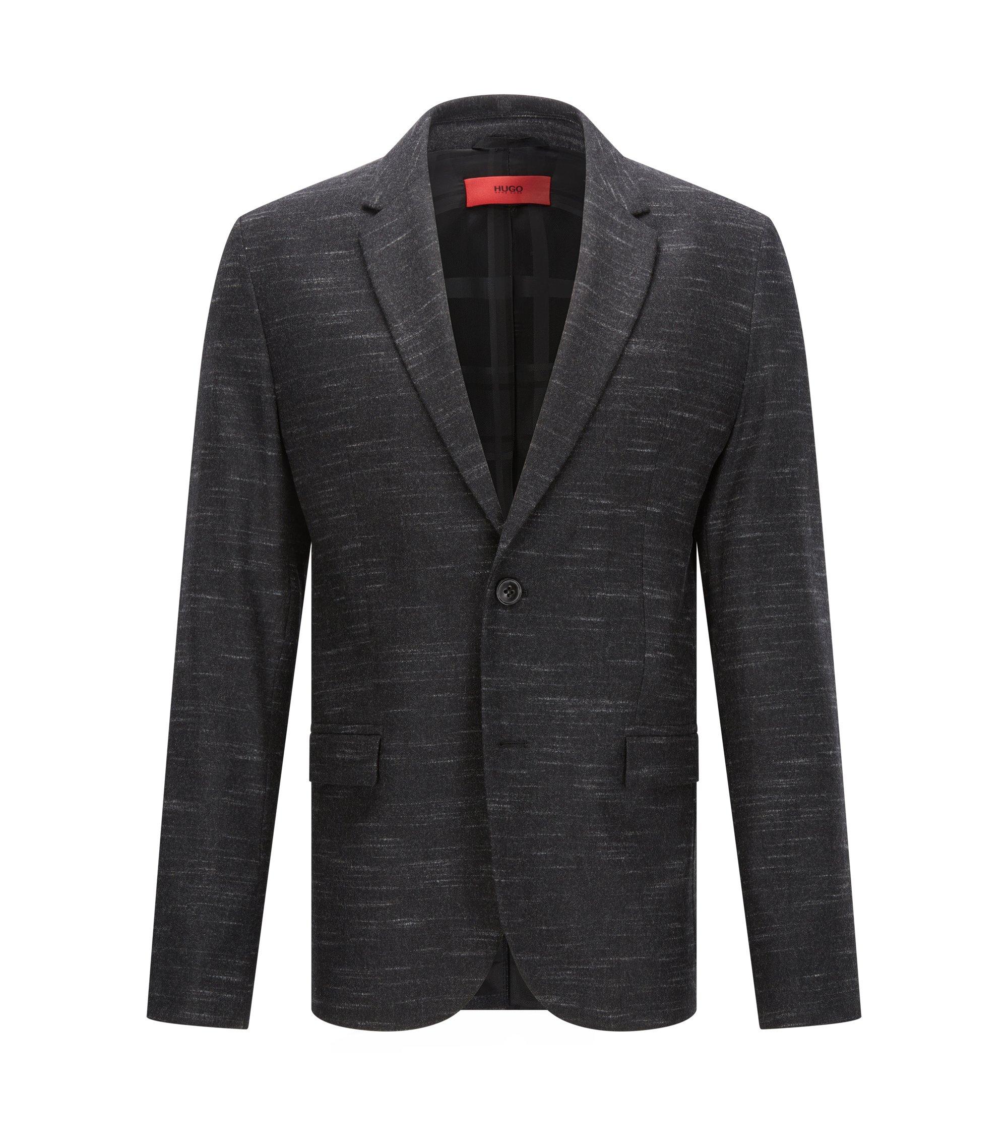 Heathered Virgin Wool Blend Sport Coat, Slim Fit   Arelton, Charcoal