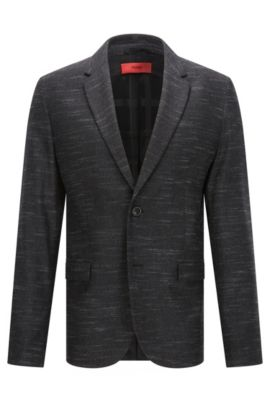 Heathered Virgin Wool Blend Sport Coat, Slim Fit | Arelton, Charcoal