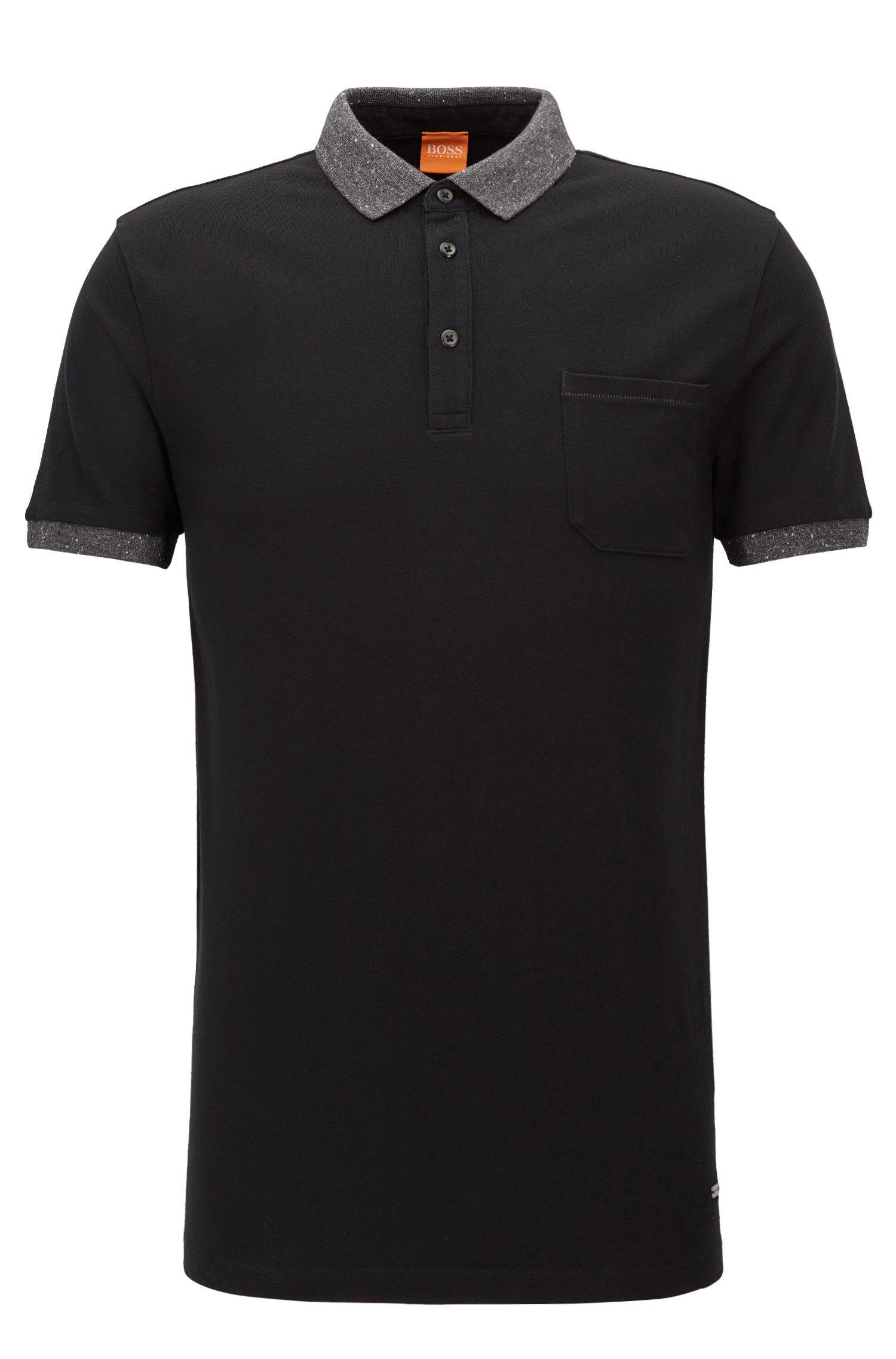 Regular Fit, Piqué Cotton Polo Shirt | Previously, Black