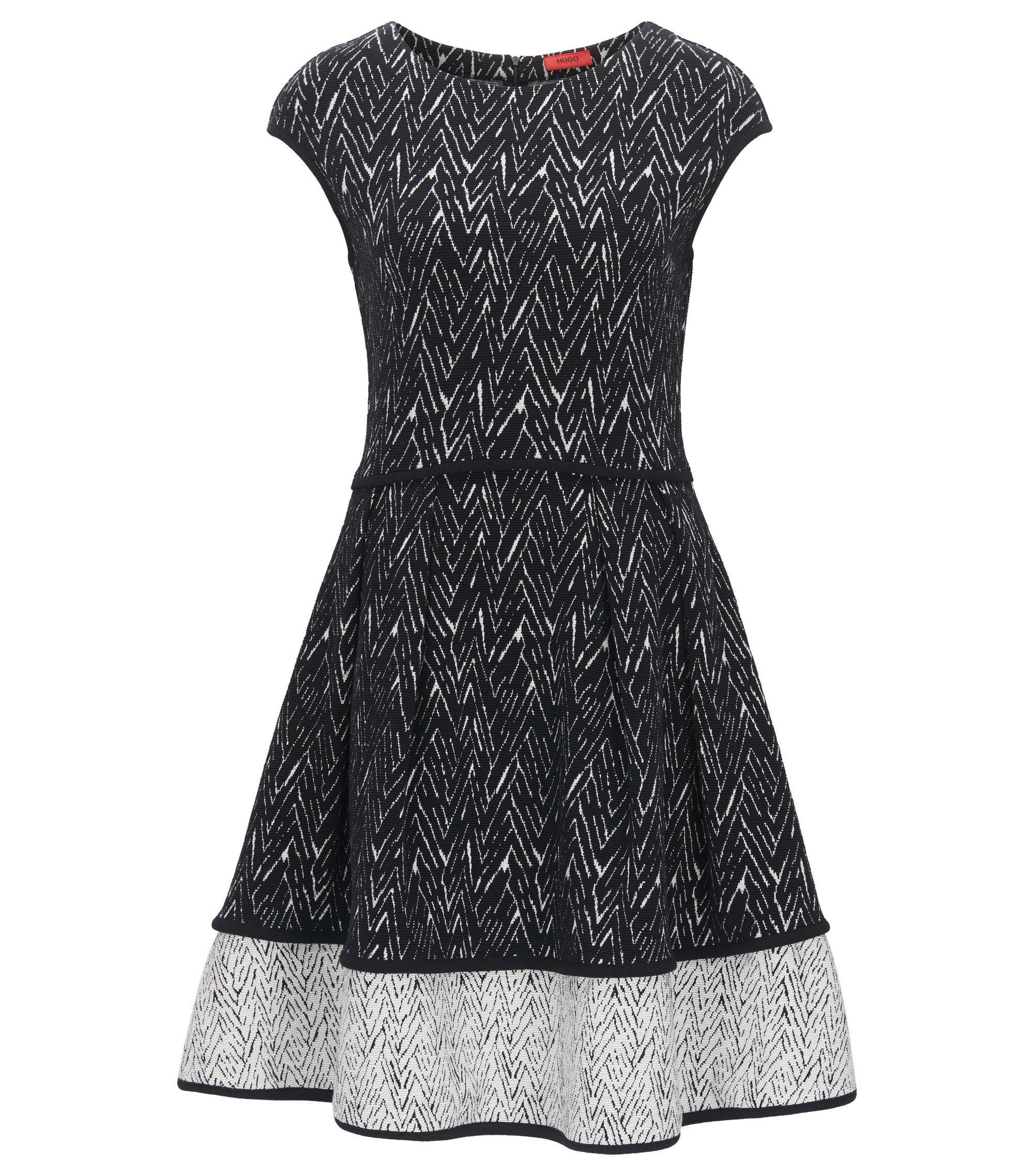Zig-Zag Jacquard Stretch Cotton Dress | Nikena, Patterned