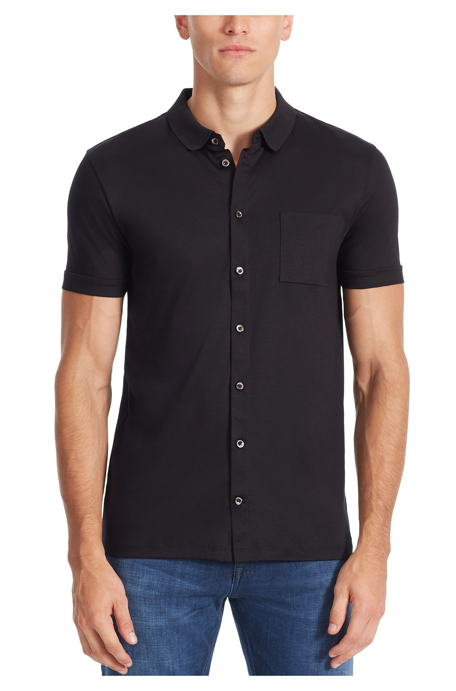 Cotton Polo Shirt, Slim Fit | Puno, Black