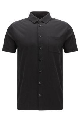 'Puno' | Slim Fit, Cotton Polo Shirt, Black